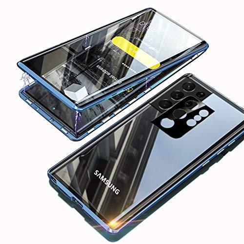 Custodia per Samsung Galaxy S21 Ultra Magnetica,KEKBOX Cover Adsorbimento Magnetico Bumper in Metallo,Fronte e Retro in Vetro Temperato Trasparente Cover 360 Gradi Rugged Case per S21 Ultra-Blu