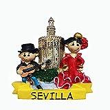 Sevilla España imán para nevera 3D recuerdo turístico regalo decoración hogar y cocina etiqueta magnética Sevilla colección de imanes