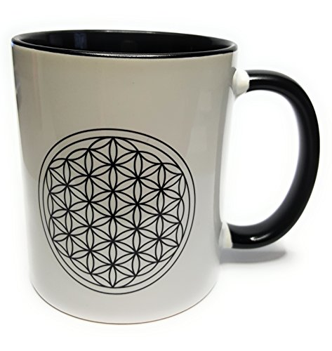 Dreamlife - Taza de café o té con diseño de flor de la vida, color negro