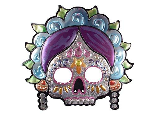 Alsino Halloween Maske Skelett Tag der Toten Totenkopfmaske Gurselgarantie Totenkopf Schädel Horrormaske gruselig Mexikanische Totentanz Teufel Satan, Variante wählen:P973041-4