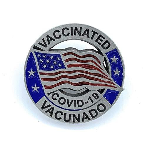 Bilingual COVID Vaccine Pin - Vacunado COVID-19 Lapel Pin - USA Flag English & Spanish COVID Vaccinated Pin - Coronavirus Vaccinated Pin - Made In the USA!