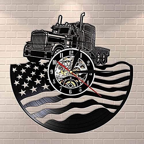 Reloj de pared con diseño de agricultores americanos con diseño de bandera americana para colgar en la granja y decoración patriótica, regalo de granja sin LED