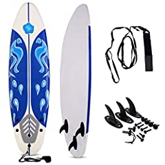 【Durable Construction】 The GYMAX surfboard is made of durable foam and slick HDPE bottom, giving you durable usage and help you surf on water with high speed. Beside, lightweight material ensures easy usage. 【Removable Fins & Anti-skip Surface】 GYMAX...