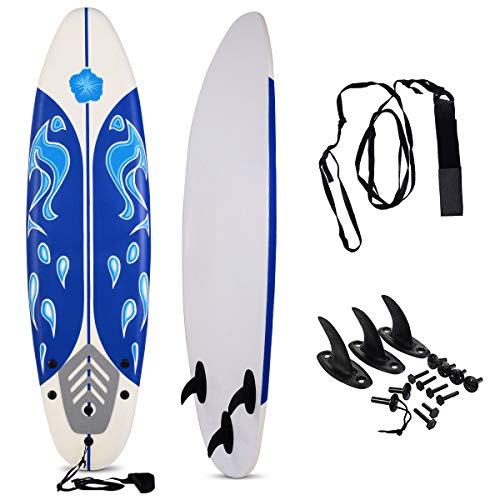 GYMAX Surfboard, 6' Body Board with Removable Fins & Protective Leash, Non-Slip Surfing Board for Surfing, Fishing Water Yoga