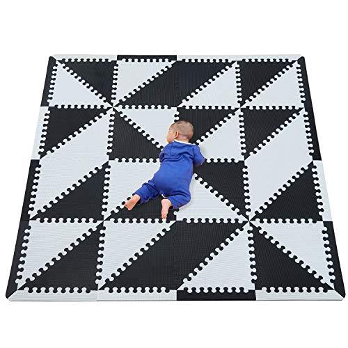 qqpp Alfombra Puzzle para Niños Bebe Infantil - Suelo de Goma EVA Suave. 32 Piezas (35*35*1cm), 16 Piezas De Borde Recto, Triángulo,Blanco & Negro. QQT-Du32S16
