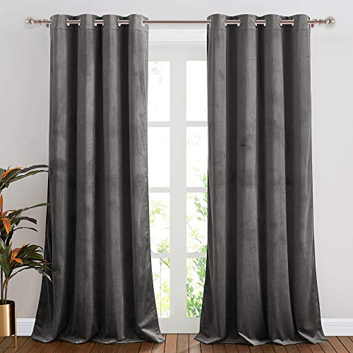 NICETOWN Grey Velvet Curtain Panels, Media Movie Theater Room Decor, Heavy-Duty Velvet Woven Home Theater Grommet Top Drapes for French Door (2 Pieces, W52xL96 inches)