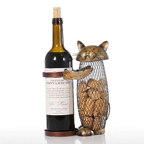 Tooarts Chat Casier à Vin en Métal Sculpture Conteneur de Cork Sculpture en Fer Maison Décoration Sculptures en Métal d'animaux