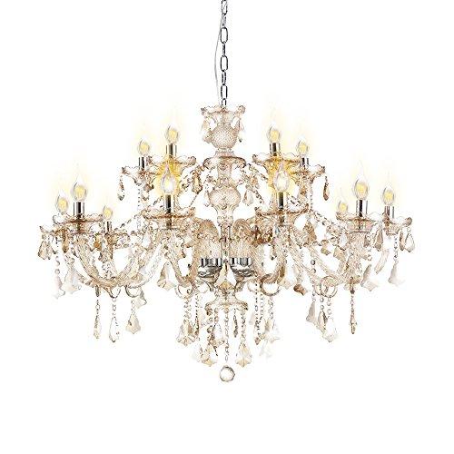 Homelava Kristall Kronleuchter Prachtvoll Cognac 15-flammig Durchmesser 80 cm für Wohnzimmer, Esszimmer, Hotel and Bar