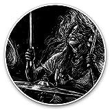 Impresionantes pegatinas de vinilo (juego de 2) 20 cm – Chica tocando batería banda música divertida calcomanías para portátiles, tabletas, equipaje, libros de chatarra, neveras, regalo genial #21601