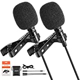 Lavalier Lapel Microphones,LEKATO 2 Pack Bundle Omnidirectional Lavalier Mic, Clip-on Lapel Mic Compatible with Android/iPhone/Camera/PC for Interview, YouTube, Recording,Video Conference