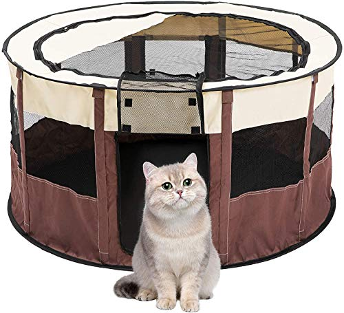 Portable Foldable Pet Playpen Pet Dog Cat Puppy Exercise Kennel For Small medium Large Pet Rabbit Guinea Pig Play Pen Indoor Outdoor use Pet Kennel Cage (S)