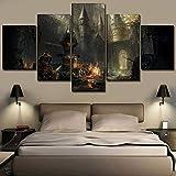 agwKE2 Home Wall Art Decor One Set Juego de 5 Paneles Dark Souls III Cuadro de construcción Obra de Arte Moderna Impresión de Lienzo Pintura Decoración / 30x40 30x60 30x80cm (sin Marco)