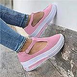 ESACLM Sandales Mode Plateau Femmes Pantoufles de Plage été Casual Tête Ronde en Cuir Espadrilles Sandales Bride Cheville Boucle Chaussures,Rose,40