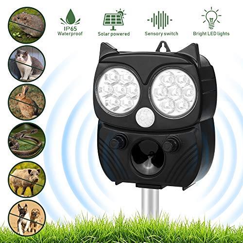 Vivibel Solar Katzenschreck, Ultraschall Tiervertreiber Solar Tierabwehr Wasserdicht, 5 Modus Automatischer Ultraschall Abwehr mit Solar, Blitz, Akku für Hunde