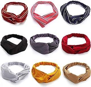 lureme 9 Pack Boho Headbands for Women Girls Vintage Cross Elastic Head Wrap Hair Accessories (hb000004-1)
