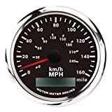 MOTOR METER RACING W Pro GPS Speedometer Odometer Waterproof for Car Boat Motorcycle Black Double Dial 160 Mph White LED Included GPS Sensor