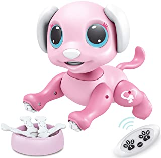 BIRANCO. Updated 2019 Smart Puppy - Remote Control, Gesture Control, STEM Programmable Actions, Lights and Sounds Electronic Pets Dog Toys, Ages 3 and Up (Pink)