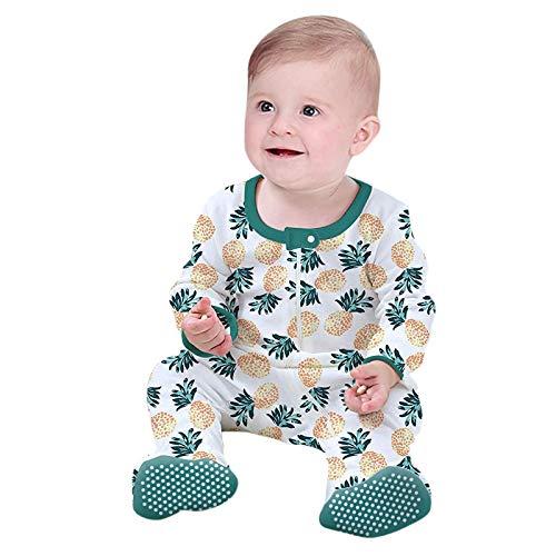 Mono para niños y niñas, unisex, otoño, manga larga, color escalar, con pies, cuello redondo, de mezcla de algodón para niños, fácil de llevar verde 0-3 Meses