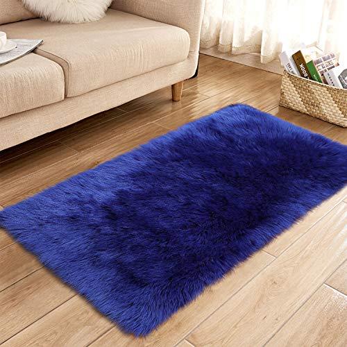 YJ.GWL Alfombra de piel de oveja sintética supersuave, para dormitorio, suelo de felpa, alfombra de piel sintética, alfombra de noche, rectangular, 2.3 x 5 pies, azul marino