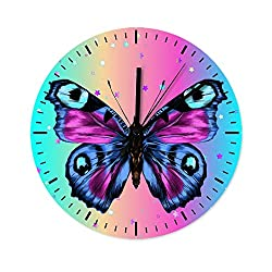 QXGIAO Retro Butterfly Animal Battery Operated Wooden Wall Clock OfficeCoffee Bar Decor DecorativeWall Clocks White 12x12 inch