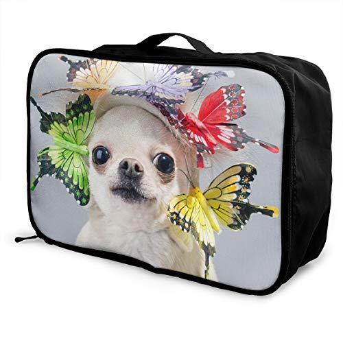 N/D Opvouwbare Kubus Reistas Mode Lichtgewicht Grote Capaciteit Draagbare Bagagetas (Verrassd Chihuahua Hond In Een Grappige Cap),15