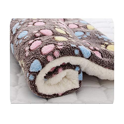 Alfombra de franela suave para mascotas, cama de invierno, gruesa y cálida, manta para perro, cachorro, funda para dormir para perros pequeños, medianos y grandes, café, 91 cm x 70 cm