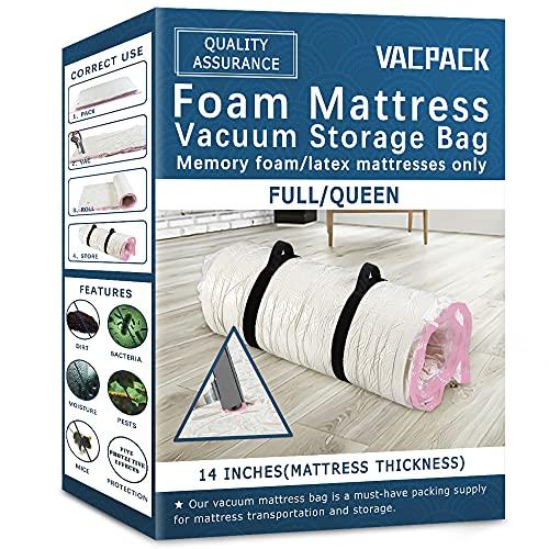 Memory Foam/Latex Mattress Vacuum Bag for Storage/Moving/Shipping, 80% Compress Vacuum Seal Mattress Bag, Double Zipper,(Queen)