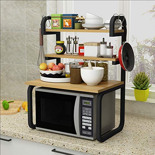 Kitchen shelf Küchenregal Lagerregal Mikrowellenherd Rack Metall Edelstahlrahmen - Größe -92 * 41 * 57cm Mikrowellen-Rost (Color : Yellow)