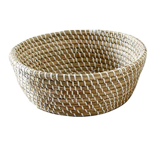 COLiJOL Fruit Bowl Hand-Woven Storage Basket Round Polyrattan Weaved Large Capacity Housewares Storage Fruit and Other Produce Fruit Basket (Size : 30 * 23 * 10.5Cm),30 * 23 * 10.5Cm,30 * 23 * 10.5Cm