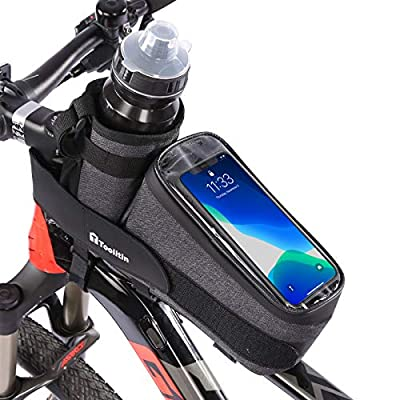 TOOLITIN Bike Phone Front Frame Bag with Water Bottle Holder, Removable Insulated Cup Bag with Tighter Buckle, Bicycle Bag for Mountain, Fixed Gear, Folding, Road Bikes