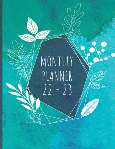 2022-2023 Monthly Planner: 24 Months Yearly simplified Planner Monthly Calendar, Agenda Schedule Organizer and Appointment Notebook With Holidays   8.5 x 11   with Ocean blue Watecolor Cover
