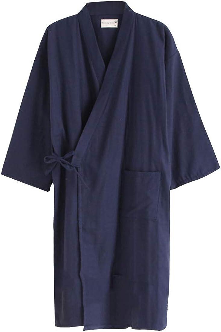 Bouclede Men's Bathrobe Lightweight Cotton Robe Spring Lounge Sleepwear