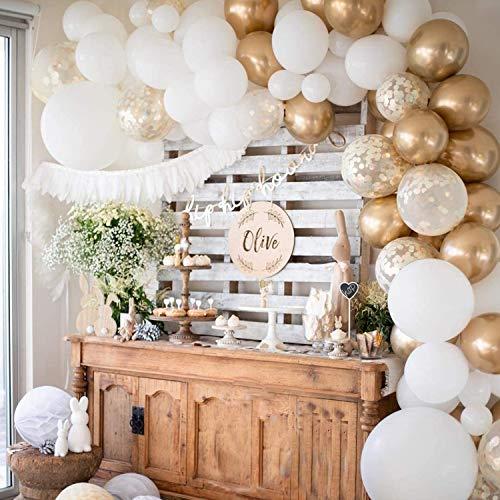 FEYG Ballonbogen Kit, 120 PCS Ballon Girlande Kit 5M mit Gold Weiß Ballon Konfetti Ballon und Metallic Ballons für Partys Babyparty Geburtstagsfeier Hintergrund Hintergrunddekoration
