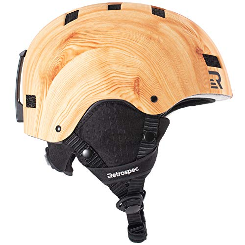 Retrospec Traverse H1 Ski & Snowboard Helmet, Convertible to Bike/Skate, Matte Pine Grain, Large (59-63cm)
