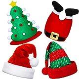 BBTO 4 Piezas de Sombreros de Navidad Sombrero de Santa Sombrero de Árbol de Navidad de Novedad Sombrero Tradicional de Papá Noel de Navidad Accesorios Gorros de Fiesta de Disfraces