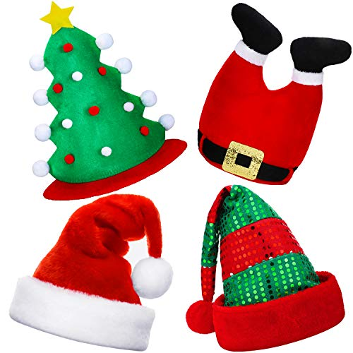 4 Pieces Christmas Hats Santa Hat Novelty Christmas Tree Hat Traditional Xmas Santa Pant Hat Holiday Party Hats Costume Accessories