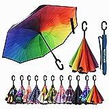 MRTLLOA Double Layer Inverted Umbrella with C-Shaped Handle, Anti-UV Waterproof Windproof Straight Umbrella for Car Rain Outdoor Use (N-Rainbow)