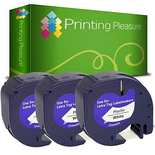 3x Schriftband kompatibel für Dymo LetraTag 91201 Schwarz auf Weiß (12mm x 4m), Kunststoff, laminiert, für Dymo LetraTag LT-100H, LT-100T, LT-110T, QX 50, XR, XM, 2000, Plus Etikettendrucker