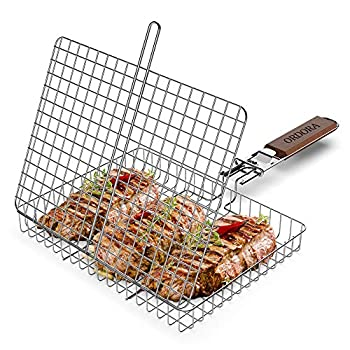 ORDORA Portable Fish Grill Basket BBQ Grilling Basket for Outdoor Grill Rustproof 304 Stainless Steel Grill Accessories Heavy Duty Shrimp Grill Baskets BBQ Tool for Steak Potatoes Chops Kabob