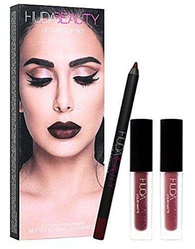Lippen-Set von HUDA BEAUTY Lip Contour Set, Neuankunft, für Sie, Geschenkset, Geschenkbox, Huda Beauty, neu, neu, neu, neust, Geschenk für Sie, Make-up-Geschenkset (Vixen & Famous)