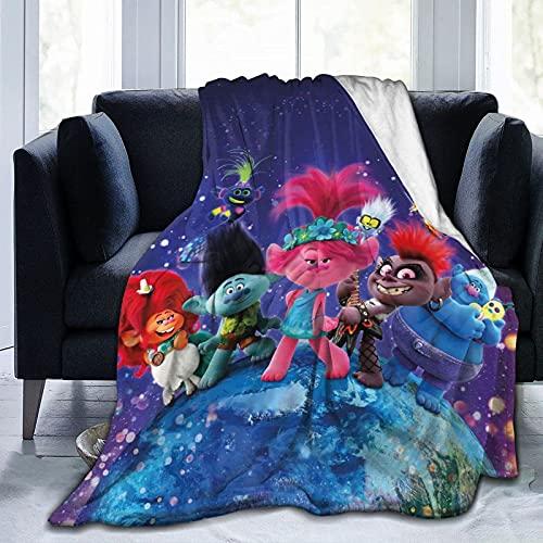 ZHENJING Trolls World Tour - Manta de forro polar ultra suave para sofá, cama, playa, camping o viaje, manta suave y cálida, tamaño pequeño para niños B