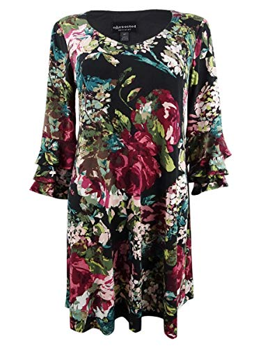 Connected Apparel Womens Petites Floral Print Casual Dress Multi 10P Pink
