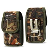 Vertical Canvas Hunter Camo Case with Velcro Closure with Belt Clip and Belt Loop fits Straight Talk Hot Spot ZTE Z291DL
