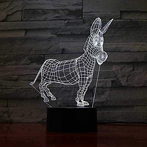 驴 3D Led Nachtlicht Acryl Laterne Hologramm Kinder Tischlampe Atmosphäre Usb Led Licht