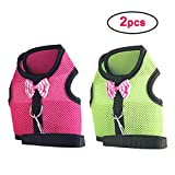 kathson Bunny Harness and Leash Set, Pink and Green Rabbit Vest Harness Soft & Breathable for Small Animals Dwarf Rabbits, Baby Rabbit and Kitten (2 Pack)