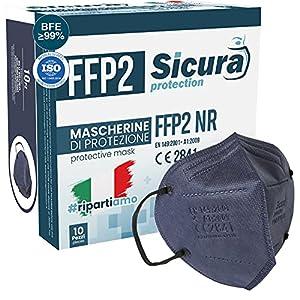 10 Mascherine FFP2 Certificate CE BLU con Elastici Neri SICURA logo impresso BFE ≥99% Made in Italy Mascherina ffp2 SANIFICATA e sigillata singolarmente Certificata ISO dispositivi Medici