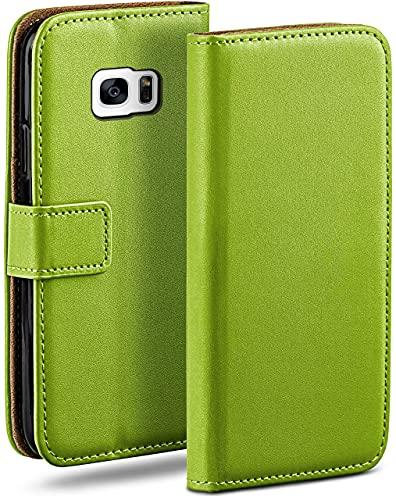 moex Klapphülle kompatibel mit Samsung Galaxy S7 Edge Hülle klappbar, Handyhülle mit Kartenfach, 360 Grad Flip Hülle, Vegan Leder Handytasche, Grün