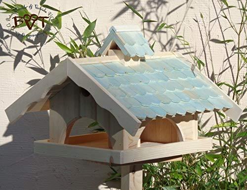 Vogelhaus,groß,mit Nistkasten,BEL-X-VONI5-türkis002 Großes wetterfestes PREMIUM Vogelhaus VOGELFUTTERHAUS + Nistkasten 100% KOMBI MIT NISTHILFE für Vögel WETTERFEST, QUALITÄTS-SCHREINERARBEIT-aus 100% Vollholz, Holz Futterhaus für Vögel, MIT FUTTERSCHACHT Futtervorrat, Vogelfutter-Station Farbe türkis ANTIKBLAU meeresblau blau-grün / natur, MIT TIEFEM WETTERSCHUTZ-DACH für trockenes Futter