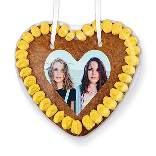 Lebkuchenherz mit Herz-Foto individuell Gestalten | Farbe: Gelb | persönliche Geschenkidee von Herzen | jetzt direkt online konfigurieren | LEBKUCHEN-WELT