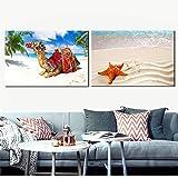 Carteles e impresiones de paisajes marinos en lienzo Cuadros artísticos pared Playas Camellos Estrella de mar para la decoración de la pared de la sala de estar 11.8 'x 17.7' (30x45cm) X2 Sin marco